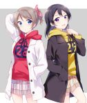 2girls :d alternate_hairstyle arm_up bangs black_coat black_hair blue_eyes blush clenched_hand clothes_writing cousins drawstring grey_background grey_hair hair_ribbon hand_in_pocket hand_up hazuki_(sutasuta) highres hood hood_down hoodie long_hair long_sleeves love_live! love_live!_sunshine!! love_live!_sunshine!!_the_school_idol_movie_over_the_rainbow miniskirt multiple_girls open_mouth pink_ribbon plaid plaid_skirt pleated_skirt ponytail purple_eyes red_hoodie ribbon simple_background skirt smile watanabe_tsuki watanabe_you white_coat yellow_hoodie