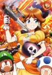 2girls 4girls :o aircraft airplane angry blonde_hair blue_eyes bomb bomber_(kirby) bowser breast_rest breasts brooch brown_hair clenched_teeth collar crown dress earrings explosion facial_hair female fire flower_earrings frilled_dress frills gem gloves grin gun hand_on_hip hand_up hat highres holding holding_gun holding_weapon jewelry kirby_(series) long_hair luigi mario mario_(series) medium_breasts multiple_girls mustache neck nervous nintendo o_o open_mouth orange_dress overalls pink_dress princess princess_daisy princess_peach puffy_short_sleeves puffy_sleeves red_hair round_teeth sassy scared short_hair short_sleeves smile solo spiked_collar spikes standing super_mario_bros. super_mario_land super_scope super_smash_bros. sweat takahashi_umori teeth thighhighs toad tomboy upper_body upper_teeth weapon white_gloves yellow_dress