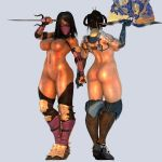 1girl 2girls 3d a_reyko abs absurdres ass back bare_back black_hair blue_gloves bracelet breasts busty cleavage curvy female full_bidy gloves gold highres holding_object huge_ass jewelry kitana legs mask mileena mortal_kombat multiple_girls navel nipples nude pink_gloves shiny shiny_skin silver_armor solo stockings stomach thick_thighs thighs topless weapon wide_hips yellow_eyes