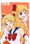 2016 aino_minako back-to-back bishoujo_senshi_sailor_moon blonde_hair blue_eyes bow choker circlet crescent crescent_earrings double_bun earrings elbow_gloves gloves hair_bow hair_ornament jewelry kiryuu_ryou long_hair miniskirt open_mouth pleated_skirt sailor_collar sailor_moon sailor_venus skirt smile super_sailor_moon tsukino_usagi twintails v white_gloves