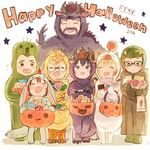 2girls 5boys beard behemoth candy carbuncle_(final_fantasy) chocobo facial_hair fangs father_and_son final_fantasy final_fantasy_xv food gladiolus_amicitia glasses halloween halloween_costume happy happy_halloween ignis_scientia iris_amicitia looking_at_viewer lunafreya_nox_fleuret moogle multiple_boys multiple_girls noctis_lucis_caelum pomiko prompto_argentum regis_lucis_caelum sabotender smile tonberry younger