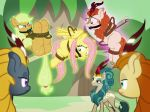 2018 angry applejack_(mlp) autumn_blaze_(mlp) ball_gag bdsm bondage bound damsel_in_distress domination equine female female_domination fluttershy_(mlp) friendship_is_magic gag group hands_behind_back horse kirin levitation magic mammal my_little_pony pegasus pony queen_rain_shine_(mlp) radiantrealm rope rope_bondage telekinesis wings