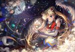 angel_wings bishoujo_senshi_sailor_moon blonde_hair blue_eyes blue_sailor_collar bow circlet double_bun earrings elbow_gloves feathered_wings floating floating_object flower full_moon gloves hair_ornament hairclip heart jewelry long_hair moon multicolored multicolored_clothes multicolored_skirt night red_bow red_ribbon ribbon sailor_collar sailor_moon sailor_senshi_uniform saya_(mychristian2) skirt solo super_sailor_moon tsukino_usagi twintails very_long_hair white_wings window wings