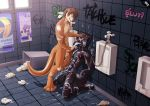 abs anthro anthro_on_anthro bathroom bdsm bondage bound bukkake canine chained chastity cum cum_covered cum_in_mouth cum_inside cum_on_chest cum_on_face cum_on_feet cum_on_hand cum_on_leg cum_on_stomach digitigrade ferloo graffiti humanoid_penis kajowwojak_(character) kneeling lutrai male male/male mammal masturbation messy mgmr mustelid otter pecs penile_masturbation penis public public_use standing trash_can uncut urinal wolf