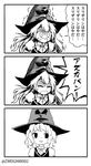 alternate_headwear art_shift banned_artist greyscale harry_potter hat kirisame_marisa kisaragi_zwei monochrome sorting_hat touhou trembling urban_legend_in_limbo wizard_hat