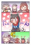 4girls :d =3 absurdres animal_ears aoba_moka bang_dream! bangs belt black_jacket black_ribbon blue_shirt blush bob_cut bow brown_eyes brown_hair cat_ears cat_tail cellphone choker comic embarrassed eyes_closed face_painting fake_animal_ears fur-trimmed_jacket fur_trim gloves grey_hair hair_bow hair_flip hair_ribbon half_updo highres holding holding_brush holding_phone hood hood_down hoodie imai_lisa jacket jitome kyou_(user_gpks5753) long_hair long_sleeves minato_yukina mitake_ran multicolored_hair multiple_girls no_eyes o-ring open_mouth paw_gloves paws phone pink_choker pom_pom_(clothes) pout puffy_cheeks purple_eyes red_hair ribbon shirt short_hair smartphone smile sparkle streaked_hair striped striped_bow studded_belt tail taking_picture trembling u_u v-shaped_eyebrows wavy_mouth whisker_markings