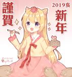 1girl 2019 :d animal bangs blonde_hair blush blush_stickers boar braid calligraphy_brush chinese_zodiac commentary_request ema eyebrows_visible_through_hair floral_print gradient gradient_background hair_between_eyes hairband hanbok happy_new_year highres holding holding_paintbrush korean_clothes light_(luxiao_deng) long_hair new_year open_mouth original paintbrush pink_background pink_hairband pink_skirt print_skirt purple_eyes revision rose_print side_braid single_braid skirt smile solo very_long_hair white_background year_of_the_pig