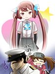 admiral_(kantai_collection) afterimage asagumo_(kantai_collection) ascot black_gloves blue_eyes brown_hair closed_eyes elbow_gloves facepalm gloves hair_ribbon hat japanese_clothes kantai_collection kariginu leg_up magatama military military_hat military_uniform motion_lines open_mouth pleated_skirt primary_stage ribbon ryuujou_(kantai_collection) shaded_face skirt smile star suspenders sweatdrop twintails uniform visor_cap
