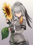 1girl asutora bangs black_gloves blush breast_pocket breasts commentary_request cowboy_shot fingerless_gloves flower gloves gradient gradient_background grey_background grey_hair grey_neckwear grey_shirt grey_shorts head_tilt highres holding holding_flower kemono_friends leaf long_hair long_sleeves looking_at_viewer medium_breasts necktie pocket shirt shoebill_(kemono_friends) short_sleeves shorts smile solo standing sunflower tail wing_collar yellow_eyes