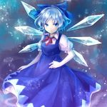 1girl banned_artist blue_dress blue_eyes blue_hair cirno dress ice ice_wings solo touhou wings yuge_mugito