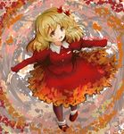 1girl aki_shizuha autumn autumn_leaves blonde_hair dated dress full_body hair_ornament leaf_hair_ornament long_sleeves outstretched_arms pantyhose red_dress shoes smile solo standing tikano touhou