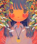 1girl abstract absurdres bangs blue_hair blush collared_shirt feathers glowing highres jewelry leaf long_hair looking_at_viewer multicolored multicolored_eyes necklace no_nose original plant portrait red_background shirt sizucomaru solo white_shirt