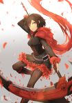 1girl black_dress black_eyes black_hair boots breasts cape cloak corset crescent_rose dress frilled_dress frills hood hooded_cloak red_cape red_hair ruby_rose rwby scythe short_hair silver_eyes thighhighs