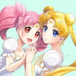 2girls :d bishoujo_senshi_sailor_moon blonde_hair blue_background blue_eyes chibi_usa crescent double_bun dress facial_mark forehead_mark hair_ornament hairpin hitsuji_kumo holding_hands long_hair looking_at_viewer multiple_girls open_mouth pink_hair princess_serenity red_eyes short_hair signature small_lady_serenity smile tsukino_usagi twintails upper_body white_dress