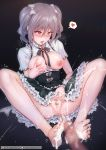 1girl ahegao areolae bangs bare_legs barefoot black_neckwear black_ribbon black_skirt blush bow breasts breasts_outside brooch censored clitoral_stimulation clitoris cum cum_on_body cum_on_feet cum_on_lower_body dark_background eyebrows_visible_through_hair feet female_ejaculation flying_sweatdrops footjob frilled_skirt frills gem grey_bow grey_hair hair_between_eyes hair_bow heart heart_censor high-waist_skirt highres idolmaster idolmaster_cinderella_girls jewelry kanzaki_ranko long_hair medium_breasts mosaic_censoring motion_lines neck_ribbon nipples no_bra open_clothes open_mouth open_shirt penis pussy pussy_juice rebe11 red_eyes ribbon ribbon-trimmed_skirt ribbon_trim self_fondle shirt short_sleeves skirt soles solo_focus speech_bubble spoken_heart spread_legs striped striped_bow sweat tears toes tongue tongue_out trembling twintails watermark web_address white_shirt wrist_cuffs