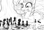 applejack_(mlp) chess cutie_mark day duo earth_pony equine eyelashes female feral friendship_is_magic hair hooves horn horse line_art lying macro mammal my_little_pony outside pony standing tsitra360 twilight_sparkle_(mlp) unicorn