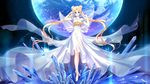 2016 bangs bare_legs bare_shoulders bishoujo_senshi_sailor_moon blonde_hair blue_eyes bracelet bug butterfly closed_mouth crystal detached_sleeves double_bun dress earth facial_mark forehead_mark full_body highres insect jewelry ji_ran long_dress long_hair looking_at_viewer parted_bangs princess_serenity short_sleeves signature solo sparkle standing tsukino_usagi twintails very_long_hair wallpaper white_dress