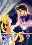 1girl anime_coloring arm_up bare_shoulders bishoujo_senshi_sailor_moon black_hair blonde_hair chiba_mamoru curtains detached_sleeves double_bun dress earrings endymion floating floating_object from_side highres jewelry long_hair looking_at_another princess_serenity profile short_sleeves signature tsukino_usagi twintails very_long_hair vladta watermark white_dress