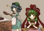 2girls apron blue_eyes blue_hair bow chopsticks cooking dress eyebrows eyebrows_visible_through_hair fidgeting frills front_ponytail frying_pan green_eyes green_hair hair_bobbles hair_ornament hair_ribbon hat kagiyama_hina kawashiro_nitori looking_to_the_side multiple_girls nervous one_eye_closed open_mouth red_bow red_ribbon ribbon ribbon_trim simple_background stove sweatdrop tagme tikano touhou two_side_up