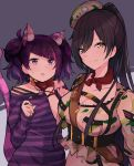 2girls :o animal_ear_fluff animal_ears bangs bell belt black_hair bow brown_gloves camouflage_hat cat_ears cat_tail chains collarbone crop_top earrings eyebrows_visible_through_hair fang fingerless_gloves gloves hand_on_another's_chin hands_up hanetsuka highres idolmaster idolmaster_shiny_colors jewelry jingle_bell long_hair long_sleeves looking_at_viewer multicolored_hair multiple_girls navel off_shoulder open_mouth orange_bow pink_hair ponytail purple_hair purple_shirt shirase_sakuya shirt short_sleeves sidelocks sleeves_past_wrists star stomach striped striped_shirt sweat tail tanaka_mamimi tilted_headwear twintails two-tone_hair upper_body v-shaped_eyebrows