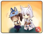 +++ 2girls ^_^ ^o^ animal_ears artist_name azur_lane black_legwear blue_eyes blue_hakama blush brown_hair closed_eyes commentary_request crossover eyebrows_visible_through_hair eyes_closed fox_ears fox_tail hair_between_eyes hakama hakama_skirt japanese_clothes kaga_(azur_lane) kaga_(kantai_collection) kantai_collection makeup mask mask_on_head multiple_girls namesake open_mouth short_hair side_ponytail smile tail taisa_(kari) tasuki thighhighs white_hair