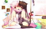 2girls ahoge animal_ears asymmetrical_docking bell black_legwear blush bow breast_press breasts brown_hair cat_ears cat_tail cheek-to-cheek dress highres indoors jingle_bell large_breasts long_hair looking_at_viewer mia_flatpaddy multiple_girls original pillow pink_hair red_eyes ribbon scarf shared_scarf shia_flatpaddy sideboob sitting sweater sweater_dress syroh tail tail_bell tail_bow tail_ribbon thighhighs wariza white_legwear zettai_ryouiki