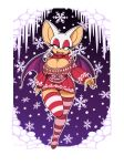 absolute_territory bat big_breasts breasts cleavage_cutout clothing eyeshadow female keyhole_turtleneck legwear looking_at_viewer makeup mammal omegasunburst open_mouth panties rouge_the_bat snow solo sonic_(series) striped_legwear striped_thigh_highs stripes sweater underwear wings