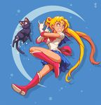 \m/ animal bishoujo_senshi_sailor_moon blonde_hair blue_eyes blue_sailor_collar boots bow cat clenched_teeth commentary crescent double_bun earrings elbow_gloves full_body gloves jewelry joakim_sandberg knee_boots long_hair looking_away looking_to_the_side luna_(sailor_moon) magical_girl red_bow sailor_collar sailor_moon sailor_senshi_uniform skirt sparkle sweatdrop teeth tiara tsukino_usagi twintails