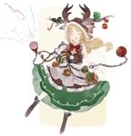 1girl ^_^ boots bow bowtie chain christmas christmas_ornaments closed_eyes full_body fur_trim gift gourd hair_ribbon hat highres horn_ribbon horns ibuki_suika long_hair long_skirt low-tied_long_hair open_mouth red_bow red_bowtie ribbon shihou_(g-o-s) skirt sleeveless smile solo touhou white_background