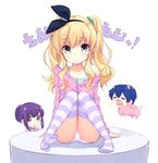 1boy 2girls =_= animal_ears bangs black_ribbon blue_hair blush camisole chibi collarbone copyright_name eyebrows_visible_through_hair green_hair hair_between_eyes hair_ornament hair_ribbon hair_scrunchie hairclip hood hoodie isurugi_mio knees_together_feet_apart knees_up kotonoha_zaja looking_at_another looking_at_viewer mm! multiple_girls open_mouth panties parted_lips pig_costume pig_ears pig_nose purple_hair purple_legwear ribbon sado_tarou scrunchie short_hair_with_long_locks sitting smile solo_focus striped striped_legwear sweater_slip thighhighs twintails underwear white_panties yuuno_arashiko