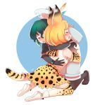 2girls animal_ears backpack bag bangs bare_shoulders black_footwear black_gloves black_legwear black_shirt blonde_hair blush crying csiguli elbow_gloves eyes_closed gloves green_hair hat hat_feather hat_removed headwear_removed hug kaban_(kemono_friends) kemono_friends kneeling legwear_under_shorts miniskirt multiple_girls open_mouth pantyhose serval_(kemono_friends) serval_ears serval_print serval_tail shirt shoes shorts signature skirt spoilers tail thighhighs watch white_footwear wristwatch yuri zettai_ryouiki