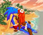 anthro beach blue_fur bra brown_fur chipmunk clothing female flower fur hair hedgehog kissing long_hair male male/female mammal plant red_hair rodent romantic romantic_couple sally_acorn seaside skirt sonic_(series) sonic_the_hedgehog summer swimsuit tropical underwear vacation zeffirdreamer