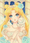bishoujo_senshi_sailor_moon blonde_hair blue_eyes bracelet commentary_request crescent_moon double_bun dress facial_mark flower forehead_mark hair_flower hair_ornament jewelry jyan_borii long_hair moon necklace neo_queen_serenity pearl_bracelet pearl_necklace pillar princess_serenity sky smile solo sparkling_eyes star_(sky) starry_sky strapless strapless_dress tiara tsukino_usagi twintails wand white_dress