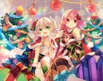 2girls braid capelet christmas christmas_ornaments christmas_tree dress gift green_eyes looking_at_viewer multiple_girls pink_eyes pink_hair sergestid_shrimp_in_tungkang shinia smile snowflakes star twintails white_hair xuan_ying