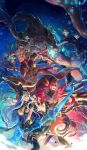 2boys 3girls armband armlet arrow ashe_(league_of_legends) bandage bandaged_hands bandaged_leg bandages black_gloves black_hair blindfold blue_eyes bow_(weapon) bracelet brown_hair cape clenched_hand eyebrows_visible_through_hair facial_hair fingerless_gloves flower gloves glowing glowing_eyes glowing_mouth highres holding holding_arrow holding_bow_(weapon) holding_weapon hood hood_up ice jewelry kicking league_of_legends lee_sin lens_flare lipstick long_hair makeup maokai moss multiple_boys multiple_girls muscle open_mouth parted_lips pink_hair pink_lips plant ponytail red_eyes red_lips red_lipstick rock sapling shirtless short_hair silver_hair skirt smile smoke taliyah tamtam_ex tattoo thighhighs thorns transparent vines weapon white_hair yellow_eyes zyra