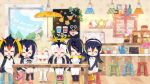 6+girls ^_^ alpaca_ears alpaca_suri_(kemono_friends) animal_ears black_footwear black_hair blonde_hair blush boots chair closed_eyes common_raccoon_(kemono_friends) cup drawstring emperor_penguin_(kemono_friends) eyes_closed facing_viewer fennec_(kemono_friends) food fur_collar gelatin gentoo_penguin_(kemono_friends) hair_over_one_eye headphones hood humboldt_penguin_(kemono_friends) indoors kemono_friends long_hair low_twintails milo miniskirt multicolored_hair multiple_girls official_art open_mouth orange_hair own_hands_together penguins_performance_project_(kemono_friends) pink_footwear pink_hair pleated_skirt red_hair rockhopper_penguin_(kemono_friends) royal_penguin_(kemono_friends) serval_(kemono_friends) sitting skirt teapot thighhighs twintails white_legwear white_skirt window yellow_footwear
