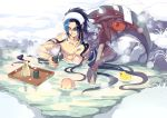 absurdres aduan bandage blue_hair bottle cup eyebrows_visible_through_hair eyes_closed floating floating_hair highres holding holding_cup in_water kayn league_of_legends lens_flare light_blue_hair multicolored_hair muscle onsen red_eyes rock rubber_duck sake_bottle scythe sitting snow steam towel towel_on_head water water_surface weapon wet
