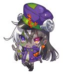 1girl :d armband bangs black_footwear black_hair black_legwear boots chibi crossed_bangs dark_skin eyebrows_visible_through_hair fang full_body hair_between_eyes hat heterochromia highres holding jacket long_sleeves looking_at_viewer multicolored_hair nail open_mouth original pointy_ears purple_eyes purple_hat purple_jacket red_eyes simple_background smile solo standing standing_on_one_leg stitches thighhighs torn_clothes torn_legwear two-tone_hair westxost_(68monkey) white_background white_hair wrench