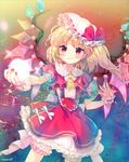 >:) 1girl amo ascot blonde_hair bloomers blush bow capelet closed_mouth cowboy_shot crystal dress embellished_costume flandre_scarlet giving hat hat_bow highres looking_at_viewer mob_cap petticoat puffy_short_sleeves puffy_sleeves red_bow red_dress red_eyes short_sleeves side_ponytail smile solo touhou underwear wings wrist_cuffs