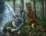 2017 anthro blue_eyes brown_fur day detailed_background duo feline flashw forest fur grass green_eyes heterochromia kneeling mammal outside pink_nose serval sitting smile striped_fur stripes tiger tree waterfall white_fir yellow_eyes