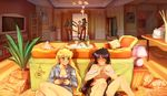 aino_minako artemis_(sailor_moon) artist_logo artist_name bag bangs bishoujo_senshi_sailor_moon black_hair black_skirt blonde_hair blush bookshelf bottle bra bra_removed breasts brown_hair carpet ceiling_light chair cherry_in_the_sun closed_umbrella coat coat_rack commentary couch cup dress_shirt dressing drinking_glass english_commentary floral_print grey_shirt grin hair_ribbon handbag hiding hino_rei indoors kino_makoto knees_up lamp living_room long_hair long_sleeves looking_at_another medium_breasts miniskirt mizuno_ami multiple_girls nervous no_pants on_floor partially_undressed photo_(object) pillow plant ponytail poster_(object) potted_plant ribbon shirt sitting skirt smile standing standing_on_one_leg table television tsukino_usagi twintails umbrella unbuttoned underboob underwear very_long_hair walk-in wine_bottle wine_glass yuri
