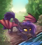 bat_pony cutie_mark day detailed_background eyelashes fan_character female feral hair hooves imanika membranous_wings my_little_pony nude outside purple_hair sky solo standing water wings yellow_eyes