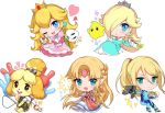 animal_ears bell blonde_hair blue_eyes blush blush_stickers chibi chiko_(mario) crown dog dog_ears dog_girl dog_tail doubutsu_no_mori dress earrings furry gun hair_ornament hair_over_one_eye jewelry long_hair looking_at_viewer mario_(series) metroid moorina nintendo one_eye_closed open_mouth pink_dress ponytail princess_peach princess_zelda rosetta_(mario) samus_aran shizue_(doubutsu_no_mori) skirt smile star star_earrings super_mario_bros. super_mario_galaxy super_smash_bros. super_smash_bros._ultimate tail the_legend_of_zelda the_legend_of_zelda:_a_link_between_worlds topknot wand weapon zero_suit