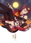 1girl 2017 bare_shoulders bird braid brown_hair chicken eyeliner full_moon hair_bun hair_ornament hair_stick highres horns japanese_clothes makeup moon night night_sky original pointy_ears rin2010 rooster sky solo thighhighs translation_request twin_braids yellow_eyes