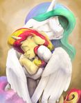 blonde_hair blue_hair duo equestria_girls equine eyelashes eyes_closed feathered_wings feathers friendship_is_magic green_hair hair hooves horn hug mammal multicolored_hair my_little_pony princess_celestia_(mlp) red_hair silfoe smile sunset_shimmer_(eg) unicorn white_feathers winged_unicorn wings