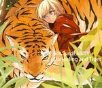 1girl asuka_(junerabitts) bangs blonde_hair blue_eyes character_name closed_mouth copyright_name darjeeling english girls_und_panzer jacket kneeling light_smile looking_at_another lowres military military_uniform red_jacket short_hair tiger uniform