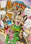 anthro ball_fondling balls comic daigaijin dialogue english_text erection fan_character feline female fondling group kung_fu_panda lynx male mammal master_tigress mei_ling penis sex south_chinese_mountain_cat text tiger