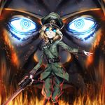 1girl bangs belt blonde_hair blue_eyes boots eyelashes eyes face fire gloves glowing glowing_eyes gun hat holding holding_weapon lips long_sleeves looking_at_viewer military military_hat military_uniform shaded_face sketch smile standing tanya_degurechaff uniform weapon youjo_senki