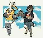 2012 anchor anthro anthro_on_anthro avian barefoot beak beak_piercing beverage biped bird bird_feet border breast_size_difference breasts brown_beak brown_feathers brown_hair brown_pelican brown_wings claws clothing cloud cloudscape digital_drawing_(artwork) digital_media_(artwork) dipstick_beak disposable_cup drinking duo eye_contact eyelashes eyewear eyewear_on_head facial_piercing feather_hands feathered_wings feathers female female/female full-length_portrait furgonomics furry-specific_piercing glasses green_claws grey_beak grey_eyes grey_feathers grey_tail grey_wings hair hand_holding holding_beverage holding_cup holding_object hoodie jewelry long_neck looking_at_another mcdonald's medium_breasts multicolored_feathers necklace non-mammal_breasts nose_piercing nose_ring outside_border pelican pelimo piercing pince-nez portrait raised_leg samgull_(samyena) seagull septum_piercing short_hair shorts sky slightly_chubby slothbug small_breasts smile sooty_gull straw sunglasses sunglasses_on_head suspended_in_midair tail_feathers talons tan_beak toe_claws tomboy two_tone_beak two_tone_tail two_tone_wings white_border white_feathers white_tail white_wings winged_arms wings yellow_beak yellow_eyes yellow_feathers