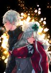 1boy 1girl anastasia_(fate/grand_order) black_background black_sweater blush coat couple embarrassed eyes_closed fate/grand_order fate_(series) from_side hat highres hug hug_from_behind kadoc_zemlupus long_hair open_clothes open_coat red_coat shika_(isk_mjkss) silver_hair smile sweater turtleneck turtleneck_sweater upper_body white_hat winter_clothes winter_coat yellow_eyes